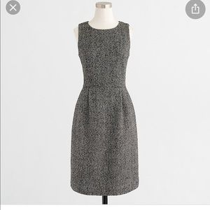J Crew tweed pleated petite gray holiday dress 6P